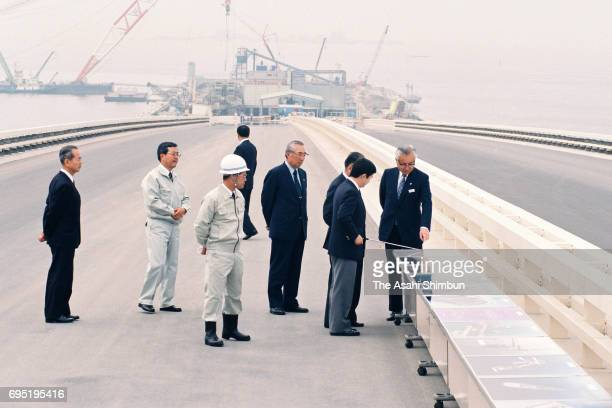 Crown Prince Naruhito inspects the construction site of the Tokyo Bay Aqua Line on June 12 1996 in Kisarazu Chiba Japan