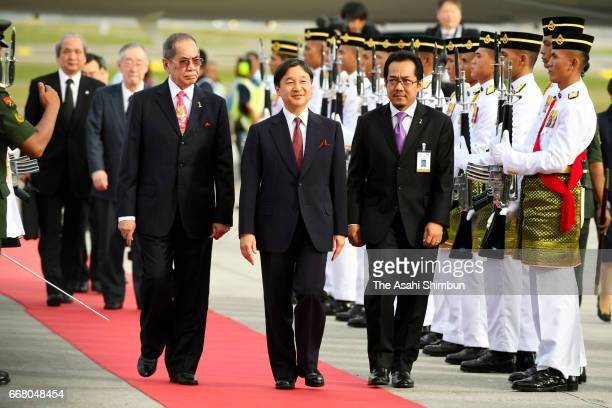 Crown Prince Naruhito is seen at the welcome ceremony on arrival at Kuala Lumpur International Airport on April 13 2017 in Kuala Lumpur Malaysia...