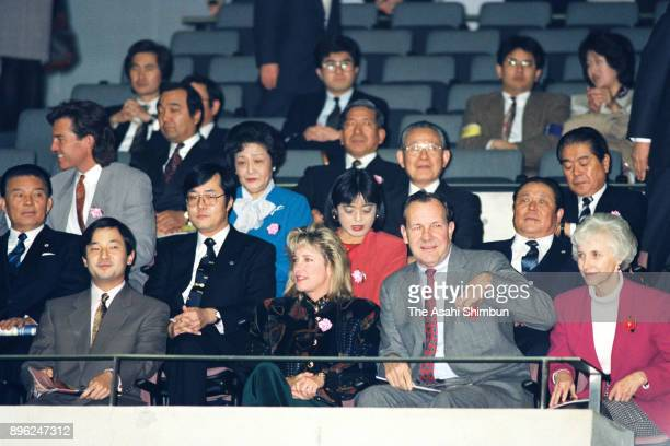 Crown Prince Naruhito is seen in the stand during day four of Toray Pan Pacific Open at the Tokyo Metropolitan Gymnasium on January 31 1992 in Tokyo...