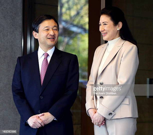 Crown Prince Naruhito is seen off by Crown Princess Masako at Togu Palace on March 5 2013 in Tokyo Japan Prince Naruhito will be on fourday tour to...