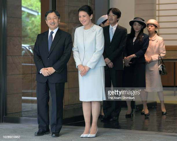 Crown Prince Naruhito is seen on arrival at LyonÐSaintExupery Airport on September 7 2018 in Lyon France