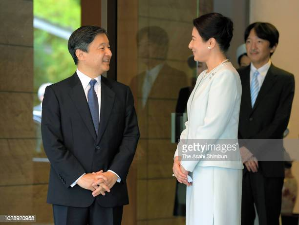 Crown Prince Naruhito is seen off by Crown Princess Masako on departure for Frnace at Togu Palace on September 7 2018 in Tokyo Japan