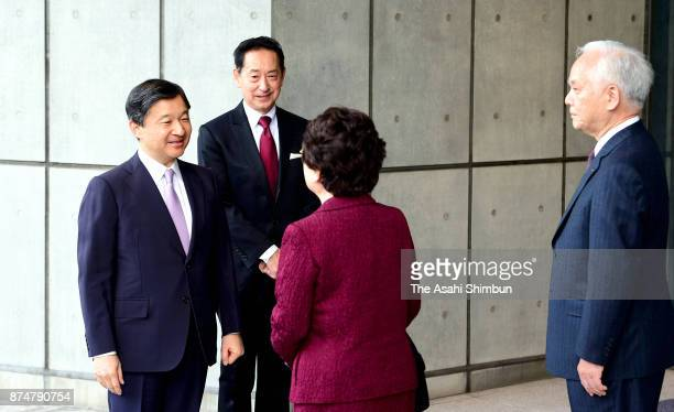 Crown Prince Naruhito is seen on arrival to attend the Science Centre World Summit Opening Ceremony at the National Museum of Emerging Science and...