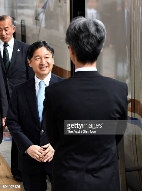 Crown Prince Naruhito is seen on departure for Ishikawa at Tokyo Station on June 9 2017 in Tokyo Japan