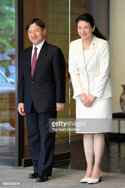 Crown Prince Naruhito is welcomed by Crown Princess Masako after returning home from Denmark at Togu Palace on June 21 2017 in Tokyo Japan