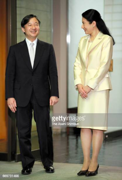 Crown Prince Naruhito is welcomed by Crown Princess Masako on arrival at Togu Palace on April 17 2017 in Tokyo Japan Crown Prince was on 5day tour to...