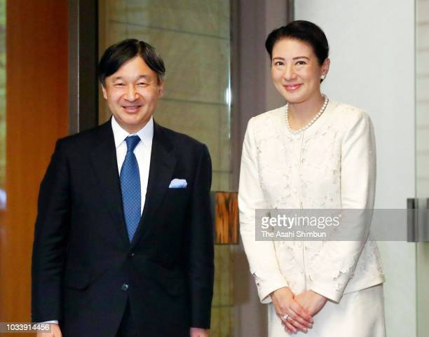 Crown Prince Naruhito is welcomed by Crown Princess Michiko after returning from France at the Togu Palace on September 15 2018 in Tokyo Japan