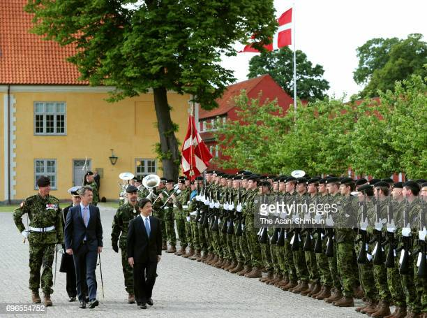 Crown Prince Naruhito of Japan and Crown Prince Frederik of Denmark visit the Monument for Denmark's International Effort on June 16 2017 in...