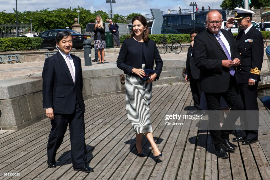 Crown Prince Naruhito of Japan and Crown Princess Mary of Denmark at the harbour where they will take a boat trip through the channels to the Little Mermaid statute on June 20, 2017, Copenhagen, Denmark. Crown Prince Naruhito is on a 6-day visit to Denmark to commemorate 150 years of diplomatic ties.