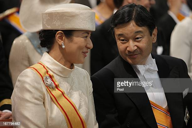 Crown Prince Naruhito of Japan and Crown Princess Masako of Japan attend the inauguration of HM King Willem Alexander of the Netherlands and HRH...