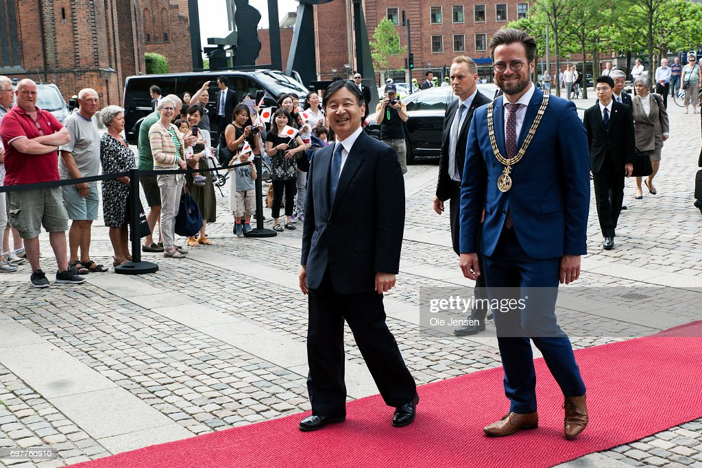Crown Prince Naruhito of Japan (L) arrives at Odense Town Hall where he is received by Mayor Peter Rahbaek (Social Democtats) on June 19, 2017, Odense, Denmark. The Crown Prince and the Mayor had lunch together after which the Crown Prince continued to the windmill manufacturer Vestas. Crown Prince Naruhito is on a 6-day visit to Denmark to commemorate 150 years of diplomatic ties. The visit ends Tuesday, June 20.