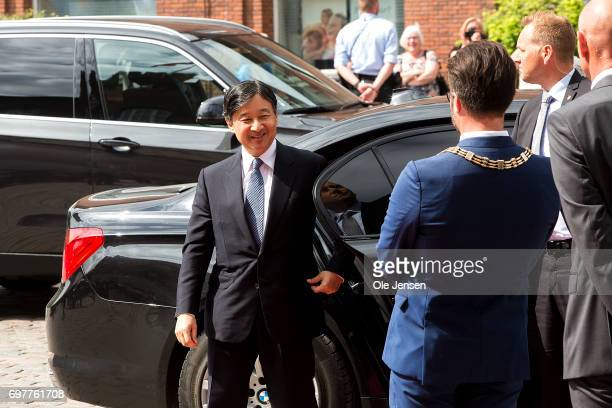 Crown Prince Naruhito of Japan arrives at Odense Town hall where he is welcomed bu Mayor Peter Rahbaek on June 19 Odense Denmark The Crown Prince and...