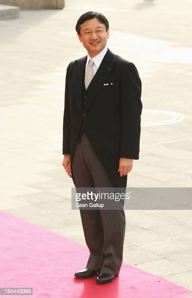 Crown Prince Naruhito of Japan attends the wedding ceremony of Prince Guillaume Of Luxembourg and Princess Stephanie of Luxembourg at the Cathedral...