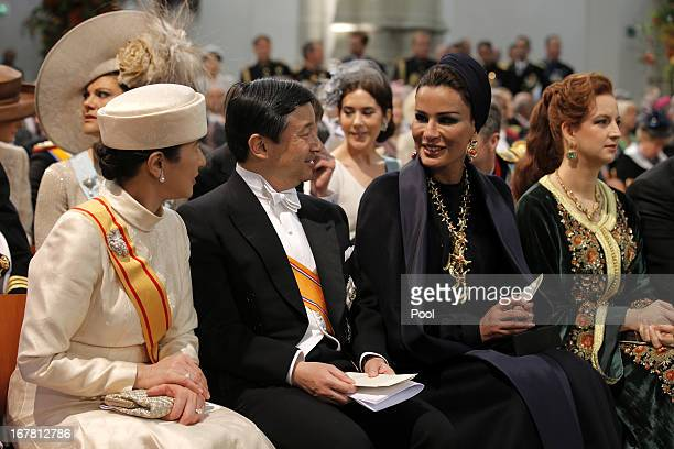 Crown Prince Naruhito of Japan Crown Princess Masako of Japan and Sheikha Moza bint Nasser al Misned of Qatar during the inauguration ceremony of...