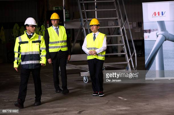 Crown Prince Naruhito of Japan during his visit to at MHI Vestas Offshore Wind where he is shown the large nacelle generator on June 19 Odense...