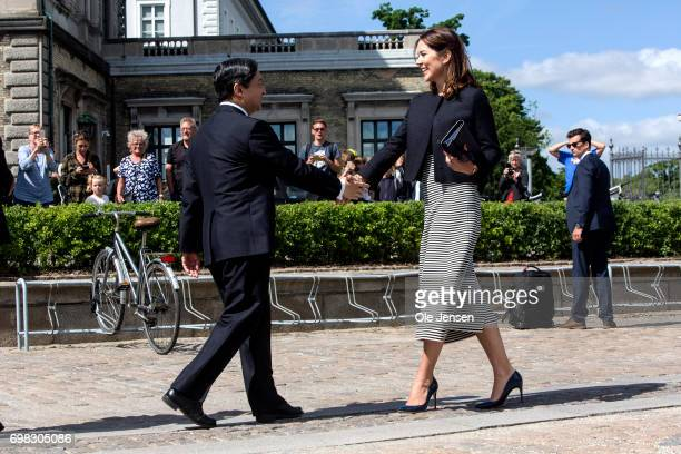 Crown Prince Naruhito of Japan is greeted by Crown Princess Mary of Denmark at the harbour where they will take a boat trip through the channels to...