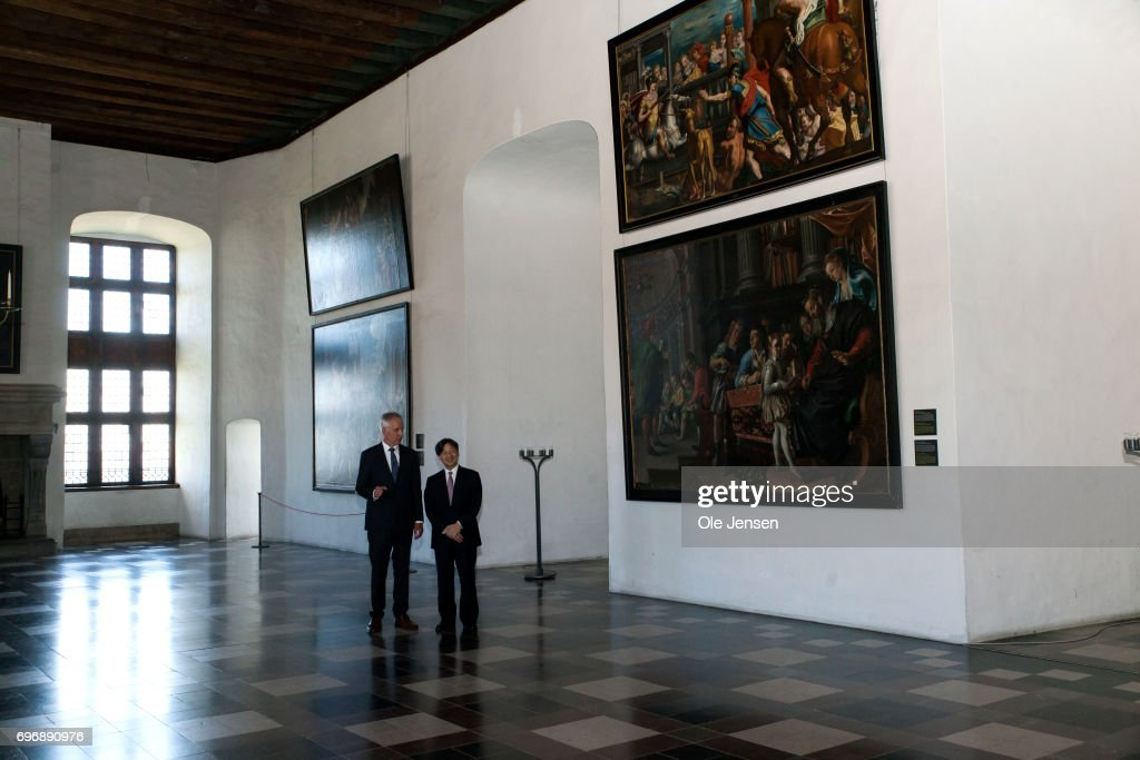 Crown Prince Naruhito of Japan (R) is on a guided tour in the Grand Hall by castle director Erik Als during the Crown Prince' visit to the famous Kronborg Castle on June 17, 2017, Elsinore, Denmark. One of the actors (R) who meets the audience and director of Kronborg, Ertik Als (L), explains the Crown Prince about the famous castle. Crown Prince Naruhito is on a 6-day visit to Denmark to commemorate 150 years of diplomatic ties. Kronborg Castle is a UNESCO World Heritage Site.