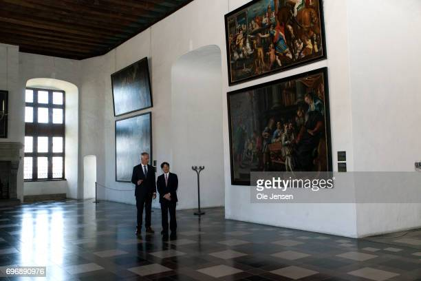Crown Prince Naruhito of Japan is on a guided tour in the Grand Hall by castle director Erik Als during the Crown Prince' visit to the famous...