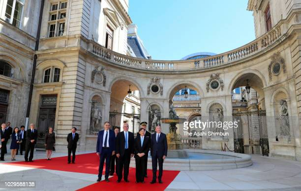 Crown Prince Naruhito of Japan visits the Museum of textiles on September 8 2018 in Lyon France