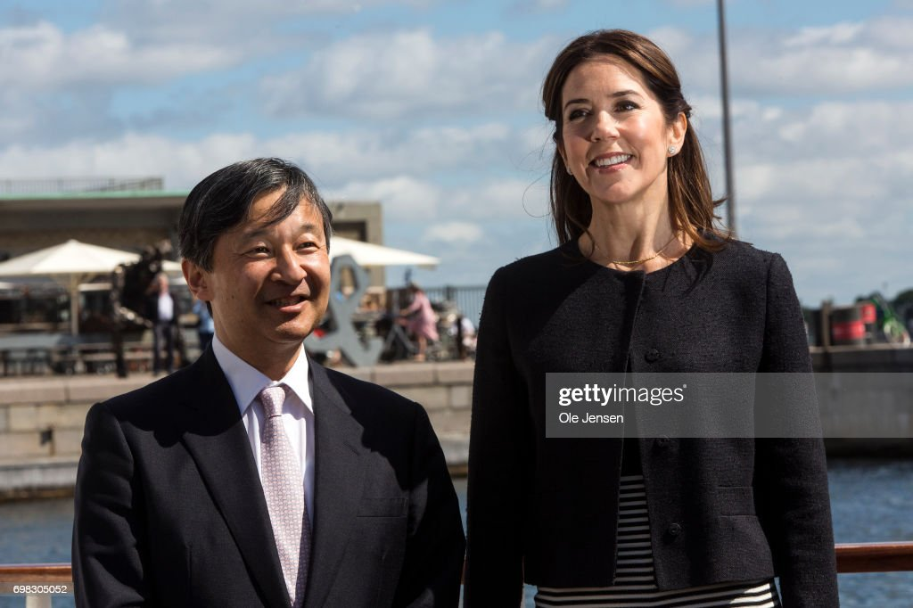 Crown Prince Naruhito of Japan on a boat trip with Crown Princess Mary of Denmark on June 20, 2017, Copenhagen, Denmark. The trip went through the channel in the old harbour to the Little Mermaid statue. Crown Prince Naruhito is on a 6-day visit to Denmark to commemorate 150 years of diplomatic ties.