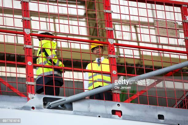 Crown Prince Naruhito of Japan on the top of MHI Vestas Offshore Wind 9 MW windmill where he is shown the large nacelle generator on June 19 Odense...