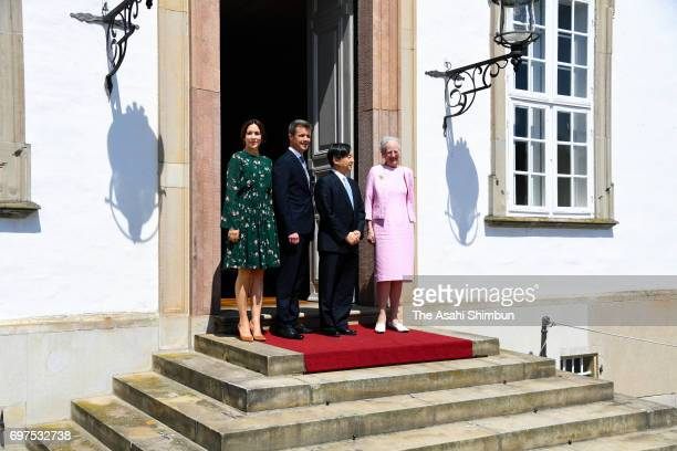 Crown Prince Naruhito of Japan poses with Queen Margrethe II Crown Prince Frederik and Crown Princess Mary of Denmark pose for photographs on arrival...