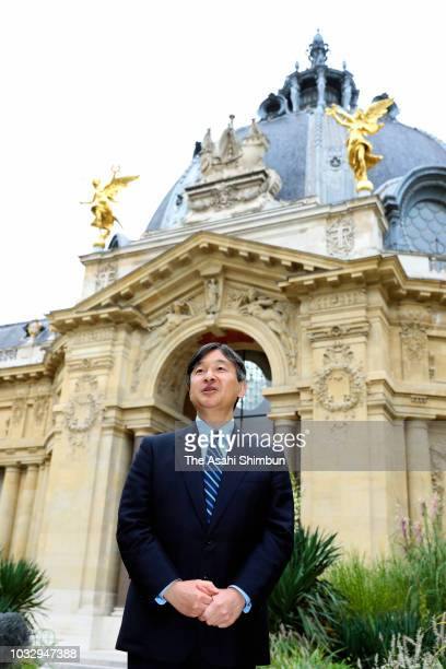Crown Prince Naruhito of Japan speaks to media reporters after visiting the Petit Palais on September 13 2018 in Paris France