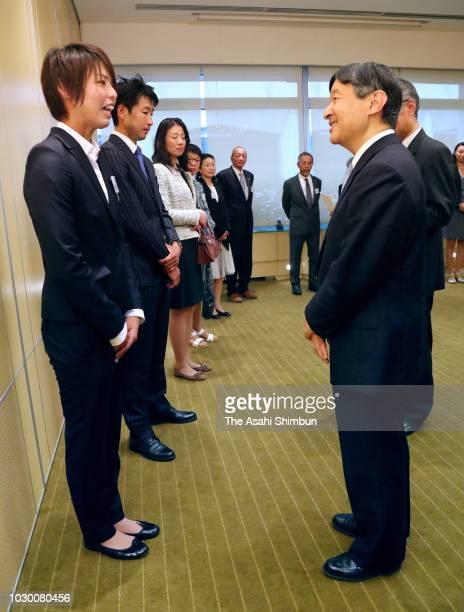 Crown Prince Naruhito of Japan talks with Saki Kumagai of Olympique Lyonnais on September 8 2018 in Lyon France