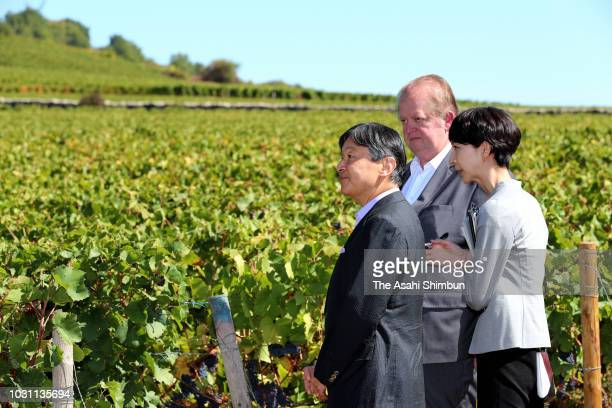 Crown Prince Naruhito of Japan visits a winery on September 9 2018 in Santenay France