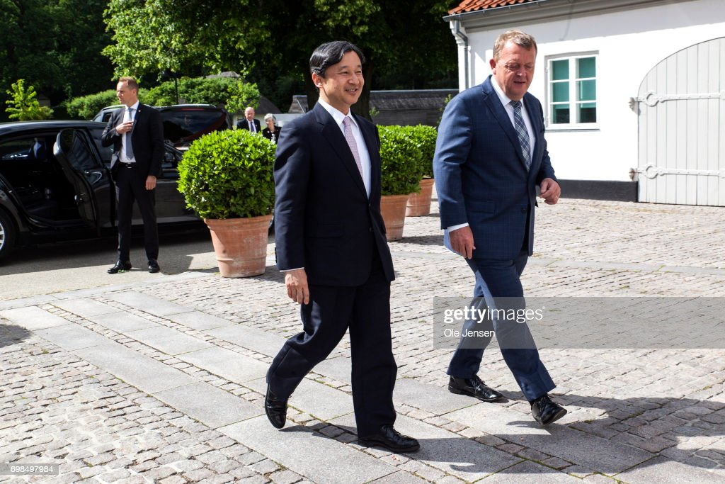 Crown Prince Naruhito of Japan (L) visits Danish Prime MinisterLarsLoekke Rasmussen at the PM'sofficial residence Marienborg on June 20, 2017, Kongens Lyngby, Denmark. Crown Prince Naruhito ends today a 6-day visit to Denmark to commemorate 150 years of diplomatic ties.