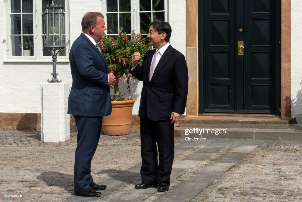 Crown Prince Naruhito of Japan (R) visits Danish Prime MinisterLarsLoekke Rasmussen at the PM'sofficial residence Marienborg on June 20, 2017, Kongens Lyngby, Denmark. Crown Prince Naruhito ends today a 6-day visit to Denmark to commemorate 150 years of diplomatic ties.