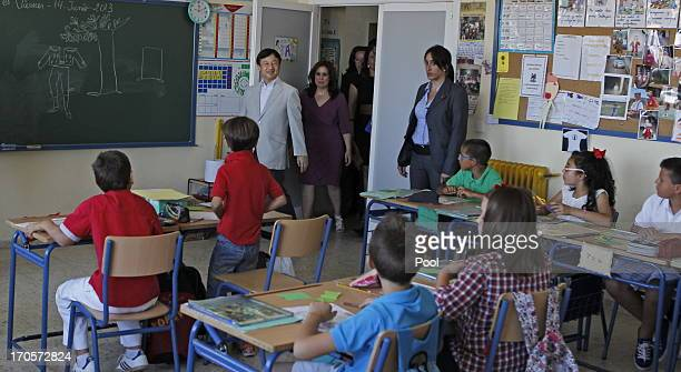 Crown Prince Naruhito of Japan visits students in a classroom at public school Vicente Neria in Coria del Rio on June 14 2013 in Sevilla Spain...