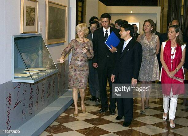 Crown Prince Naruhito of Japan visits the Archives of the Indies after inaugurating the exhibition 'From Japan to Rome seeking the sun of...
