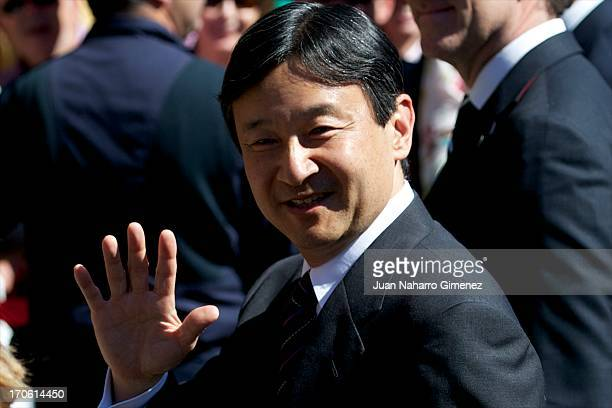 Crown Prince Naruhito of Japan visits the Cathedral at Obradoiro Square on June 15 2013 in Santiago de Compostela Spain