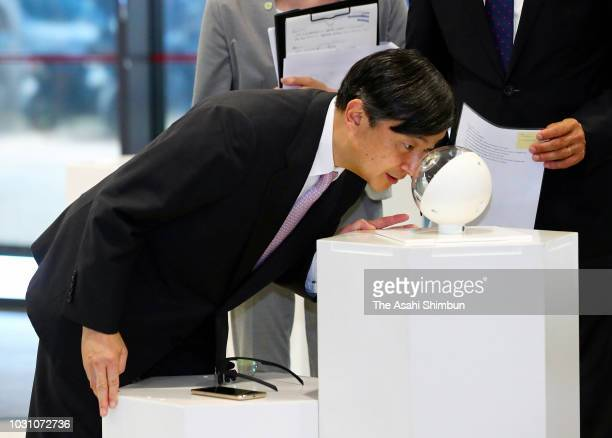 Crown Prince Naruhito of Japan visits the Minatec technology complex on September 10 2018 in Grenoble France