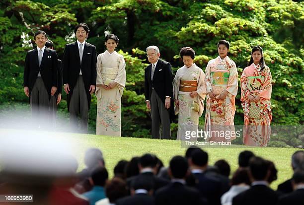 Crown Prince Naruhito, Prince Akishino, Princess Kiko of Akishino, Prince Hitachi, Princess Hanako of Hitachi, Princess Tsuguko and Princess Noriko...