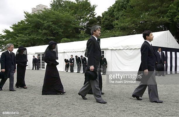 Crown Prince Naruhito , Prince Akishino Princess Sayako , Prince Hitachi and Princess Hanako of Hitachi walk to attend the 'Sojoden-no-Gi' during the...
