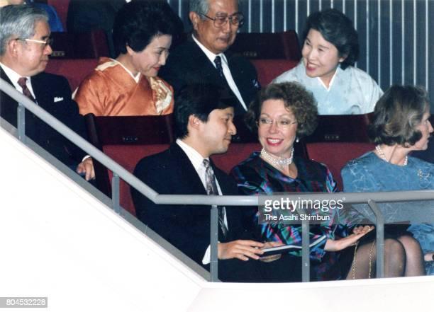 Crown Prince Naruhito talks with Christina Magnuson Princess Christina of Sweden prior to the Royal Swedish Ballet at Orchard Hall on January 20 1994...