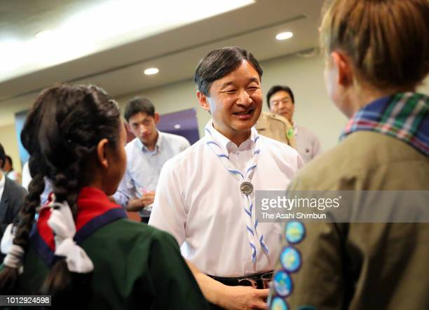Crown Prince Naruhito talks with astronaut and Japan Boy Scout Ambassador Soichi Noguchi during the reception of the Nippon Scout Jamboree meeting on...