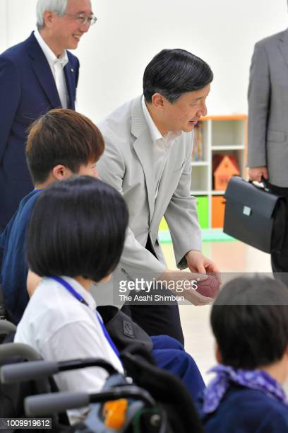 Crown Prince Naruhito watches tennis matches of the Inter High School Sports Festival on August 2 2018 in Suzuka Mie Japan