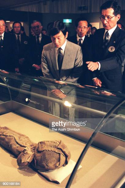 Crown Prince Naruhito visit the Loulan exhibition at the National Museum of Nature and Science on October 12 1992 in Tokyo Japan