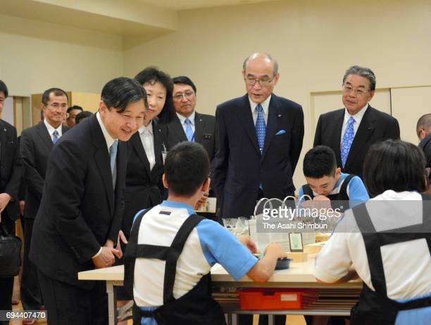 Crown Prince Naruhito visits a special school for handicapped children on June 9 2017 in Kanazawa Ishikawa Japan