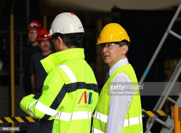 Crown Prince Naruhito visits MHI Vestas Factory on June 19 2017 in Lindo Denmark