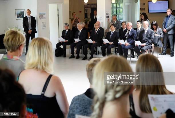 Crown Prince Naruhito visits Nordfyns Gymnasium on June 19 2017 in Sonderso Denmark