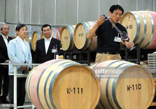 Crown Prince Naruhito visits the Asahimachi Winery on July 29 2017 in Asahi Yamagata Japan