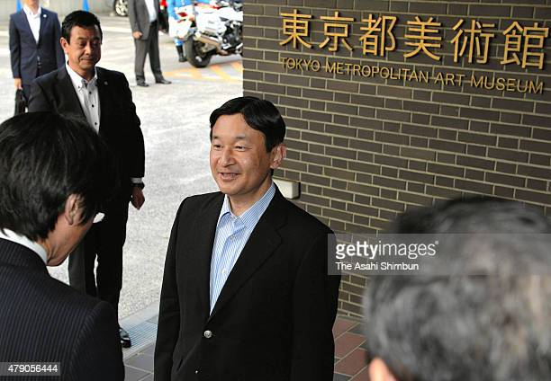 Crown Prince Naruhito visits 'The British Museum Exhibition A History of the World in 100 Objects' at the Tokyo Metropolitan Art Museumon June 24...
