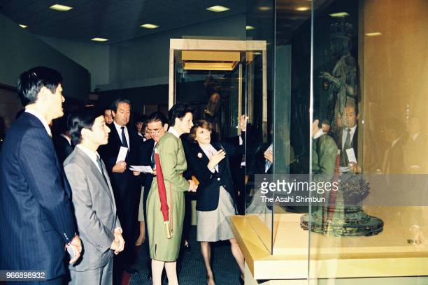 Crown Prince Naruhito visits the Europalia Japan Festival at the Centre for Fine Arts on September 27 1989 in Brussels Belgium
