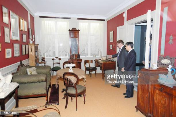 Crown Prince Naruhito visits the Hans Christian Andersen Museum on June 19 2017 in Odense Denmark