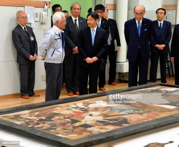 Crown Prince Naruhito visits the Ishikawa Prefectural Museum of Art on June 9 2017 in Kanazawa Ishikawa Japan
