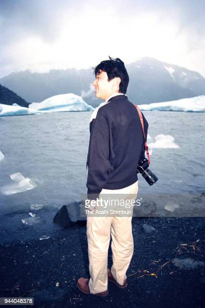 Crown Prince Naruhito visits the Portage Glacier on way back from Belgium on August 25 1990 in Alaska